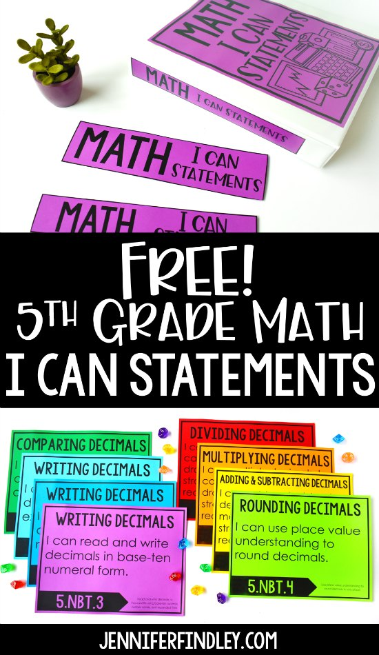 FREE 5th Grade Math I Can Statements! Download free I Can Statements for 5th grade math and read ideas for how to use these in your classroom.