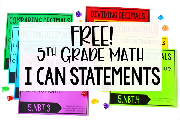 Free Math I Can Statements for 5th Grade - Teaching with ...