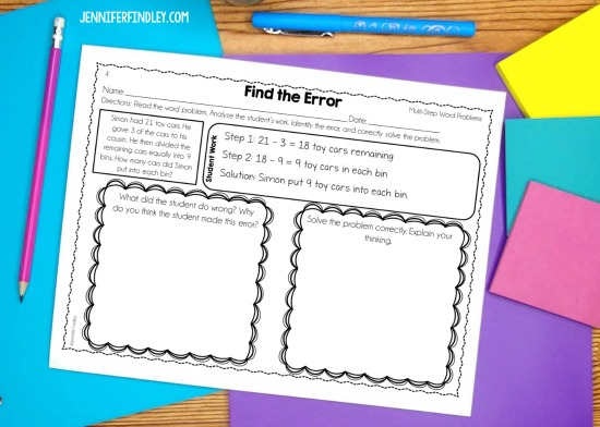 Free error analysis math tasks! Error analysis is a powerful math strategy to help your students think critically and at higher levels in math. Grab free error analysis math tasks for multi-step word problems on this post!