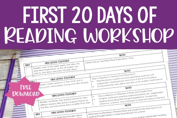 First 20 Days Of Reading Workshop In 5th Grade