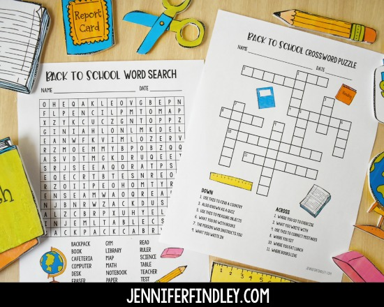 Free back to school crossword puzzle and word search for the first day of school! Worried about what to have the students do when they come in on the first day? Grab some free first day of school activities for morning work on this post!