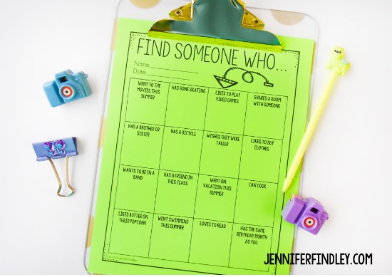 "Free back-to-school activities for grades 3-5, including this ""Find Someone Who"" activity that gets the students moving and chatting with their classmates. Grab this free back to school printable and more on this post."