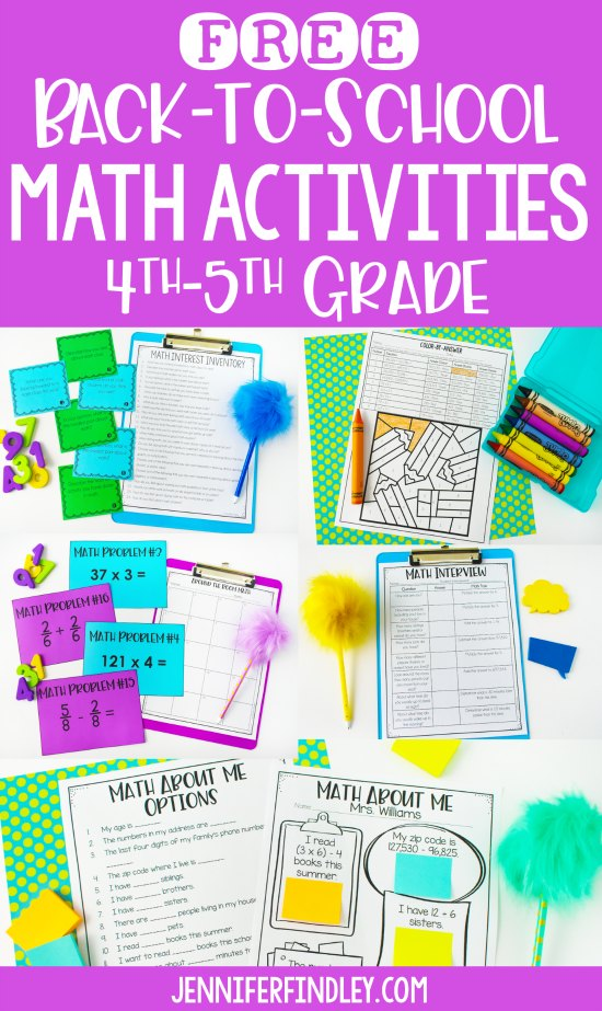Free Back to School Math Activities - Teaching with Jennifer