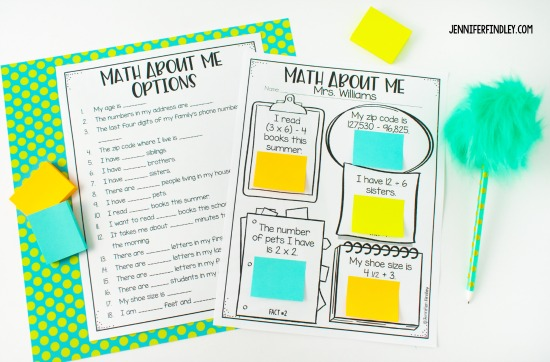 Free back-to-school math activities for 4th and 5th grade including this math about me activity! Engage your students while learning about their math interests and skills with these free back to school math activities.