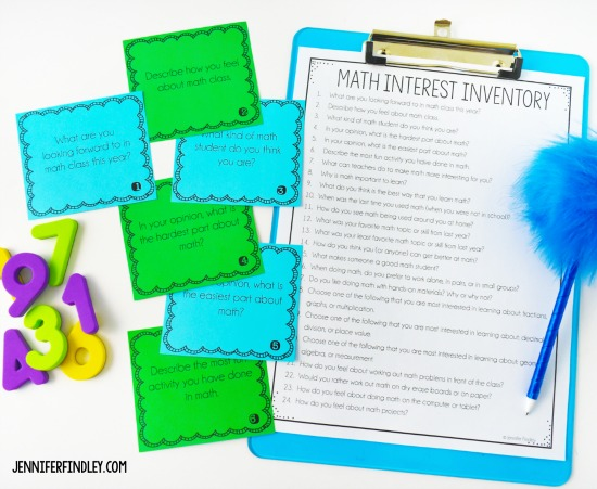 Free back-to-school math activities for 4th and 5th grade including this math interest inventory activity! Engage your students while learning about their math interests and skills with these free back to school math activities.