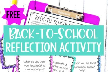 Free back-to-school reflection activity! Use these free back to school reflection questions to have students share and discuss summer break memories, set goals for the upcoming year, and share their beginning of the year thoughts and feelings.