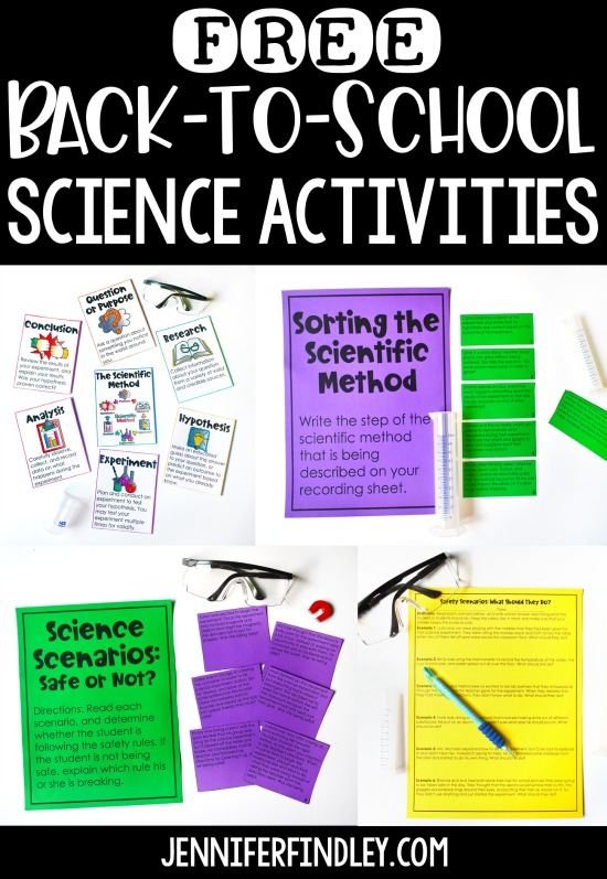 Free back-to-school science activities! These free science activities are perfect for back-to-school science lessons, including scientific method poster and science safety activities.