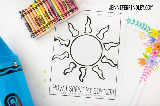 Free back-to-school activities for grades 3-5, including this printable that has the students sketching their favorite summer memories (which can also lead into the first writing prompt). Grab this free back to school printable and more on this post.