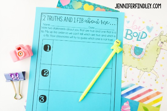 Free back-to-school activities for grades 3-5, including this student favorite where the students write down two truths and one fib about them. Grab this free back to school printable and more on this post.
