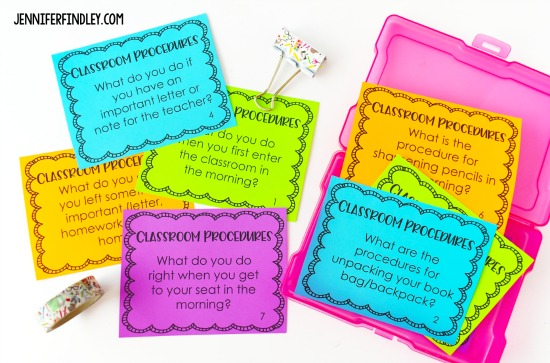 Free classroom procedures task cards to help you teach and review procedures! Teaching procedures effectively those first few weeks of school is so important. This post shares tips and activities to help you teach procedures.