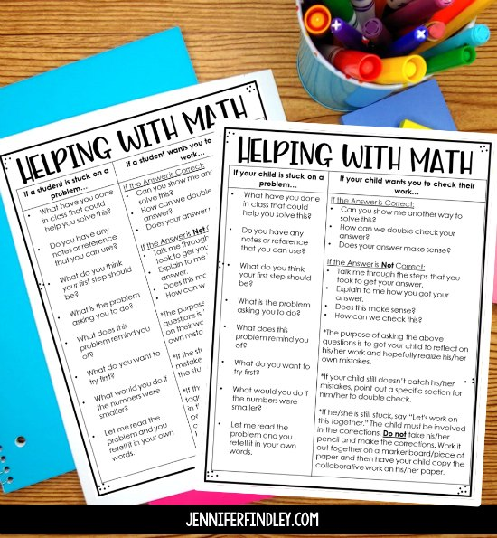 Help your students with math work in a productive way that builds success and confidence! Learned helplessness is something to avoid at all costs. This post shares math strategies for helping students with math (independent work or homework).