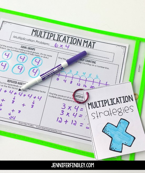 Free math intervention activities for multiplication and division strategies! Use these free work mats and strategy cards to help your students understand and master basic multiplication and division.