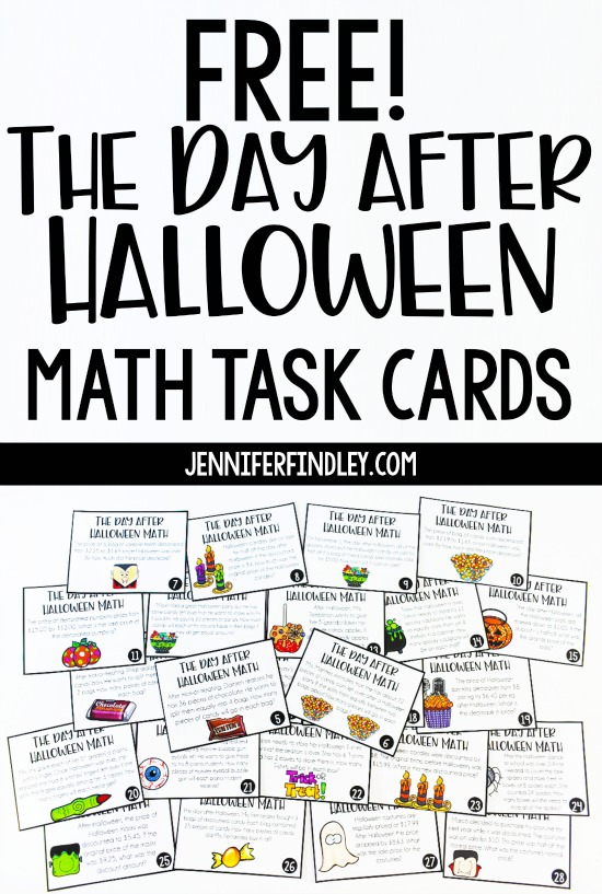 "Survive and thrive the day after Halloween with this free ""The Day After Halloween"" activity for math! The free activity includes 28 math task cards for grades 4-5 that all have a ""Day After Halloween"" theme."