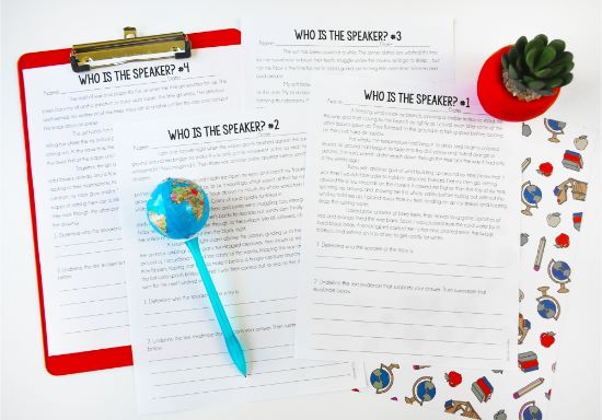 "These ""Who is the Speaker?"" text evidence activities are perfect for getting your students digging into a text looking for multiple pieces of evidence. Check out this post for text evidence activities, tips, and strategies (with freebies!)."