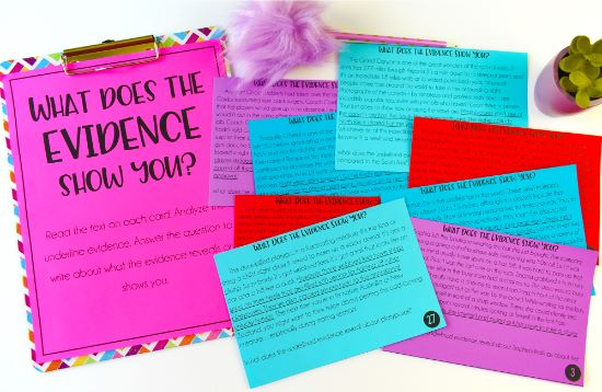 "Help your students learn to analyze and explain text evidence using these ""What Does the Evidence Reveal?"" task cards!"