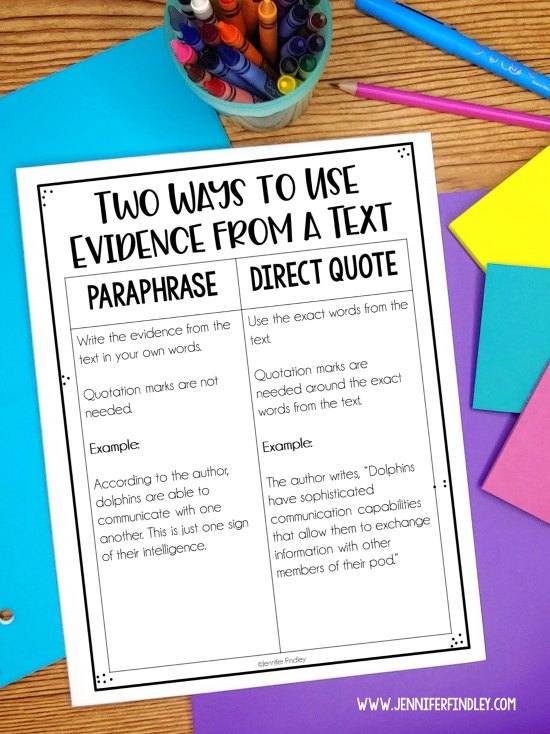 Teach your student the two ways to cite text evidence with these FREE quoting and paraphrasing text evidence posters!