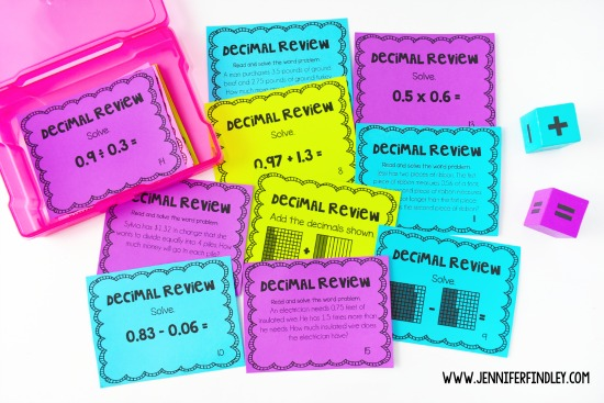 Free decimals review for 5th graders! Use these free decimal math task cards to review, remediate, or enrich depending on the needs of your students.