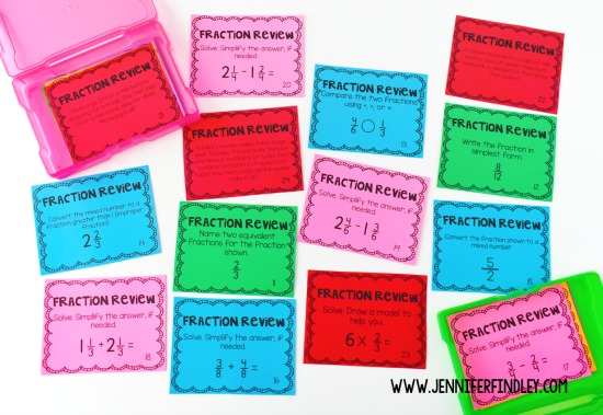 Free fractions review for 3rd-5th graders! Use these free fraction math task cards to review, remediate, or enrich depending on the needs of your students.