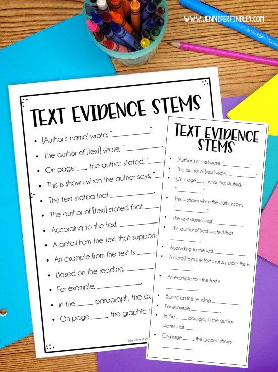 FREE text evidence sentence stems! Check out this post for even more ideas for teaching text evidence and several freebies!