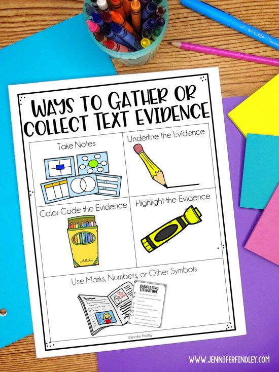 Teach your students multiple ways to gather or collect text evidence. More ideas for teaching text evidence on the post!