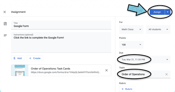 Google Forms are a great option for assigning practice and work online (no matter what online platform you are using). Check out this post for details on how to assign google forms to your students (and grab a free downloadable guide).