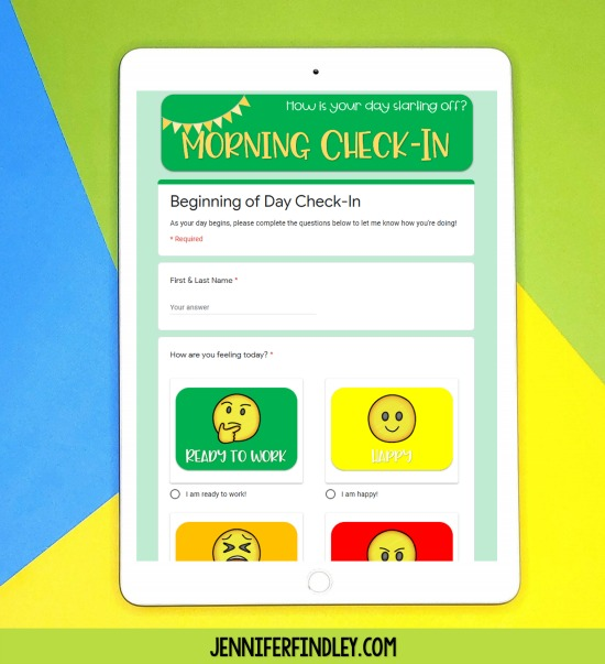 Use these FREE Daily Check-In Google Forms to check in with your students regularly during digital distance learning!