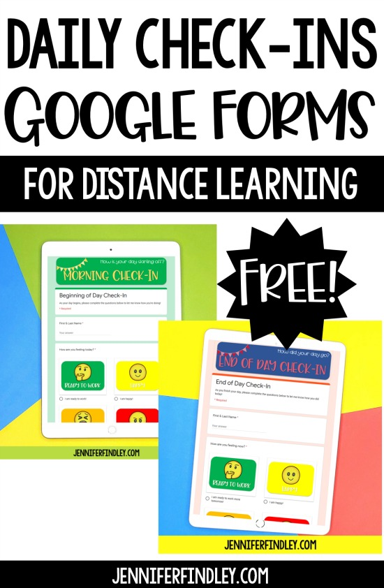 Need a way to check in with your students while you are doing distance learning? Grab these FREE daily Check-In Google Forms!
