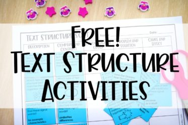 Free activities for text structures! Identifying and understanding text structures is such an important reading skill for students. Grab several free text structure activities on this post.