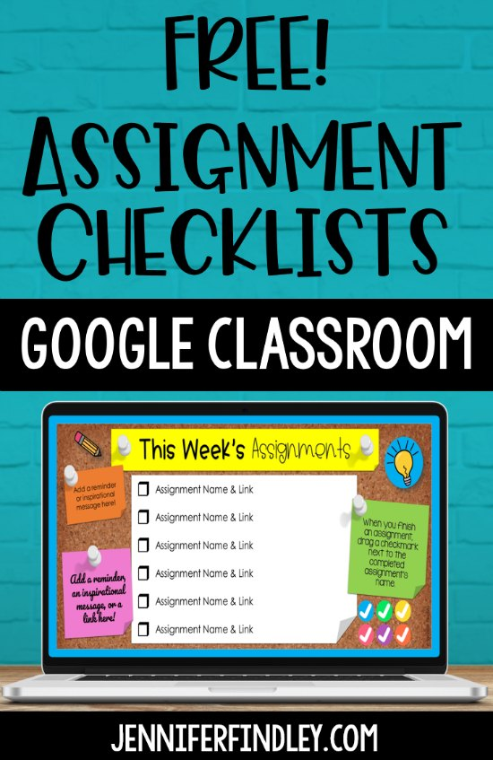 Help keep students (and parents) organized with Google Classroom using these FREE digital assignment checklists! There are digital assignment checklists for daily assignments, weekly assignments, and subject-specific assignments!