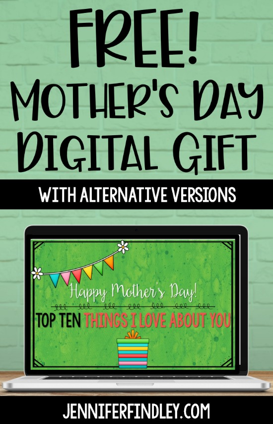 Do you need a digital Mother's Day gift idea this year? Grab a FREE Top Ten Slideshow Gift that your students can make easily in Google Slides and share with their moms or loving guardians!