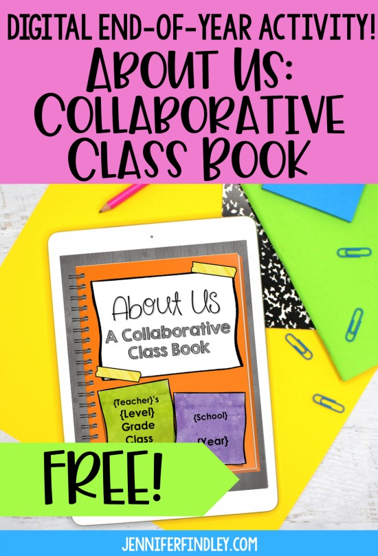 Looking for digital end of the year activities? Check out this post for a FREE digital collaborative class book that makes a meaningful and unique end of year activity. Best for grades 3-5!