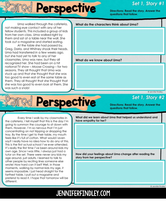 Free resources and activities for teaching empathy and perspective to 4th and 5th grade students!