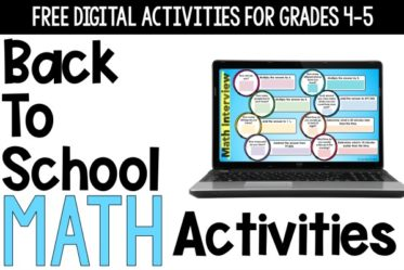 Free digital back to school math activities! Use these digital math activities to help your students get to know each other and to start practicing some simple math to get in the routine of math instruction!