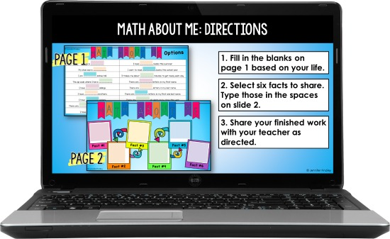 Use these digital back to school math activities to ease your students back to school and help them get to know their classmates!