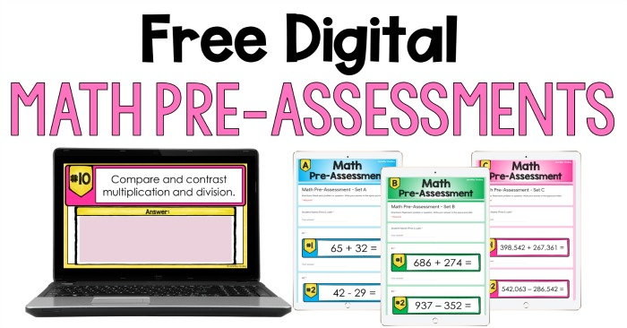 Free digital math pre-assessments for grades 3-5! Use these digital assessments to get an understanding of your students' math knowledge at the beginning of the year.