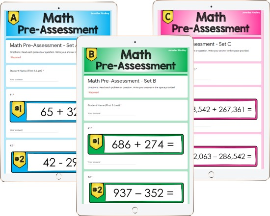 Free digital pre-assessments for math! Use these to get an understanding of your students' performance levels with the previous grade level's math skills.