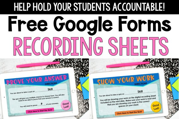 Need accountability resources to use with Google Forms? Grab these free recording sheets for Google Forms to add in accountability and make student learning more visible.