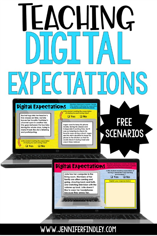 Tips for teaching digital expectations to help strengthen your virtual classroom management, with free scenarios!