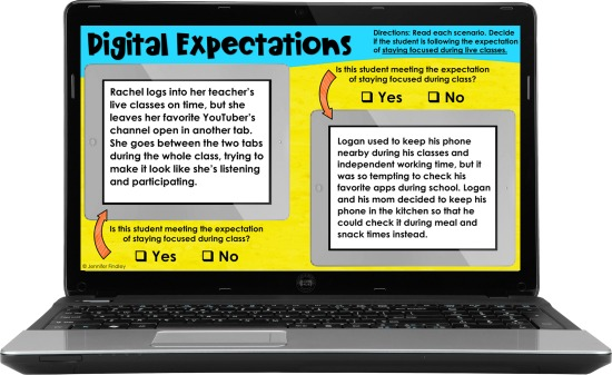 Free digital expectations scenarios for paying attention during live sessions and creating a distraction-free work environment!