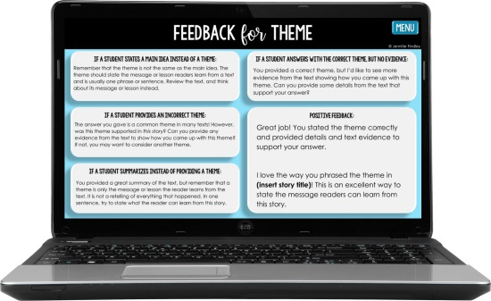 Save time grading + give your students effective feedback with this FREE reading skills feedback bank. Copy and paste the feedback into your online learning platform to give your students specific feedback that improves their learning (and saves you time).