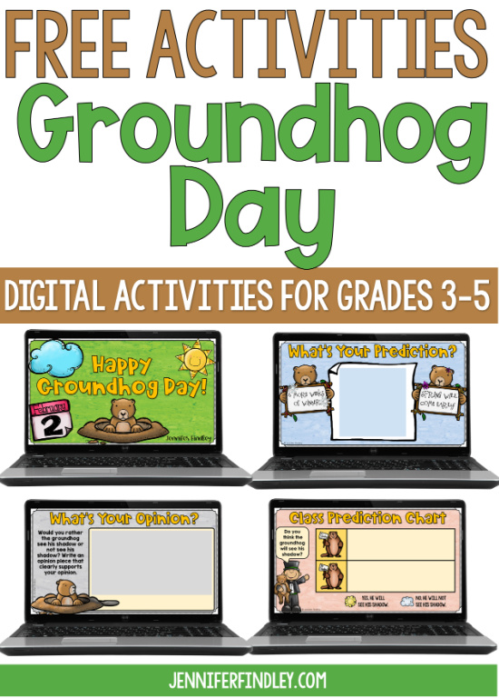 Free Groundhog Day digital activities for grades 3-5! Grab a few simple digital Groundhog Day activities on this post.