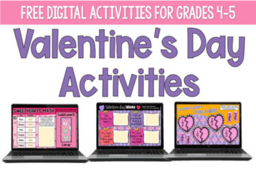 Free digital Valentine's Day activities for 4th and 5th grade! Grab free activities for math and literacy on this post!