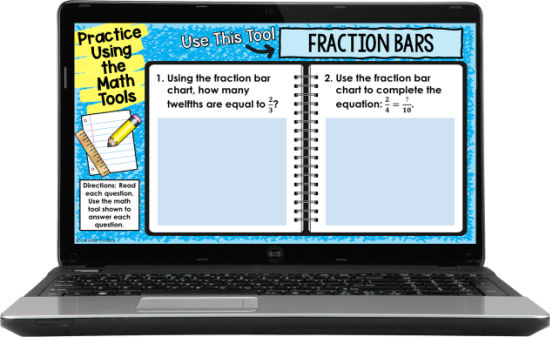 Help teach your students how to use the free digital math tools with practice questions for each digital math tool.