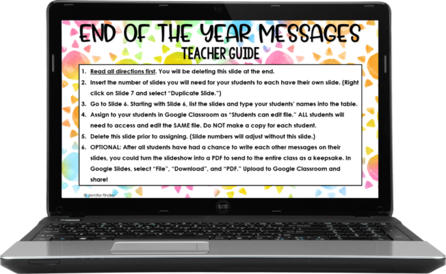 teacher guide to end of year message activity