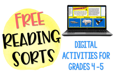 Grab these free reading sorts for grades 4-5!